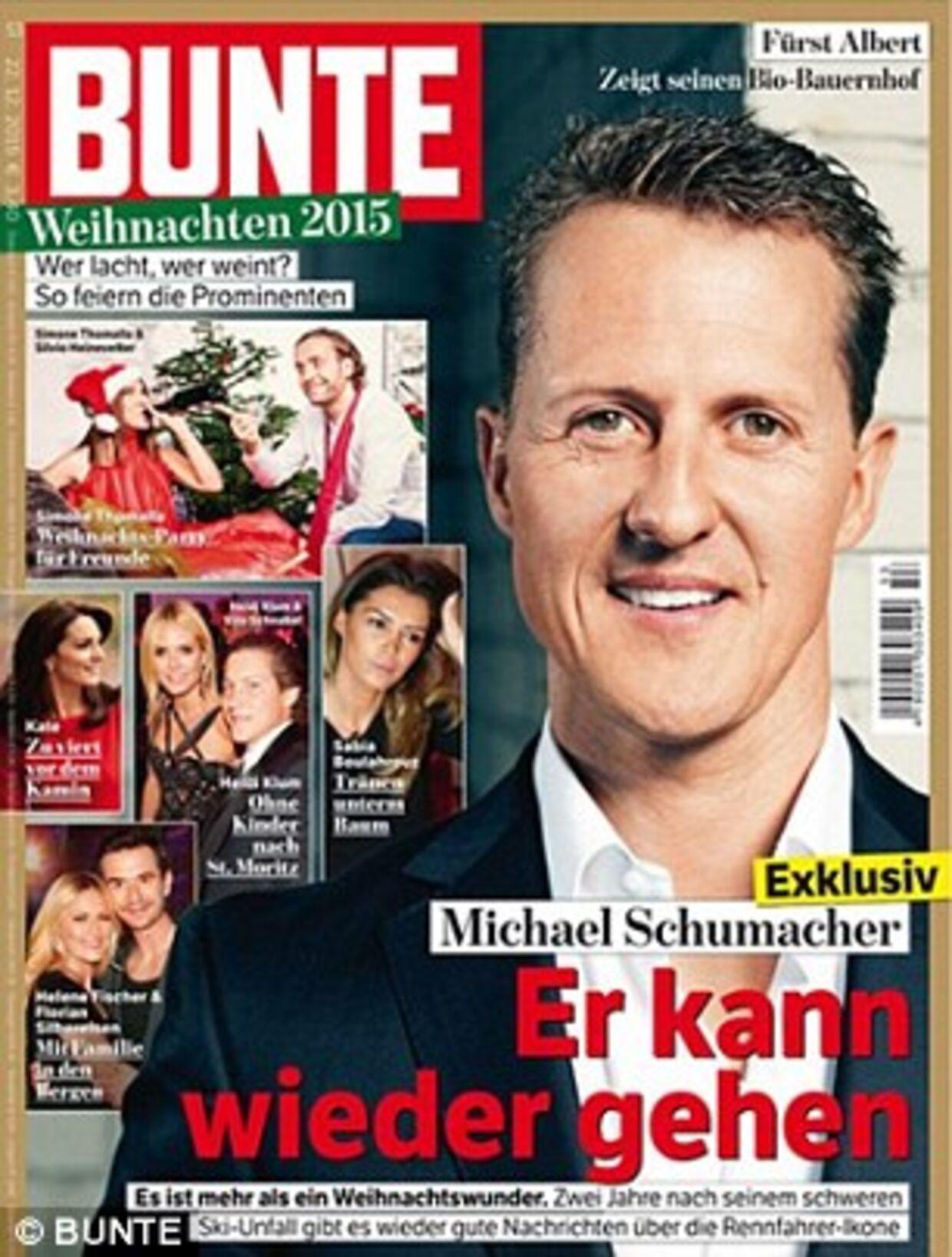 Sådan så forsiden af Bunte ud med den opsigtsvækkende historie om Michael Schumacher.