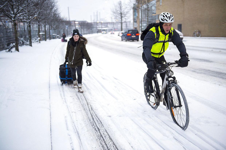 Snevejr i København torsdag morgen d. 14. januar 2016. (Foto: Nils Meilvang/Scanpix 2016)