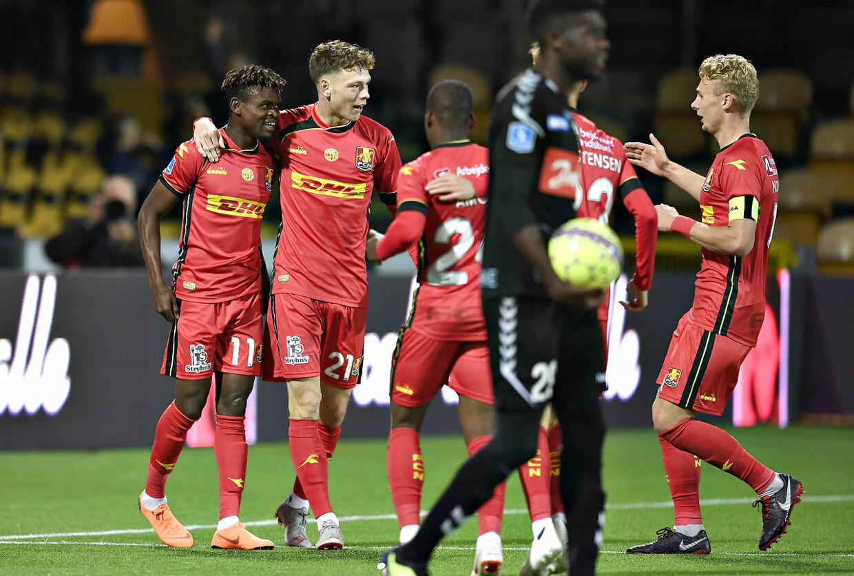 Godsway Donyoh, FCN, FC Nordsjælland har scoret til 2-0. (Foto: Lars Møller/Scanpix 2018)