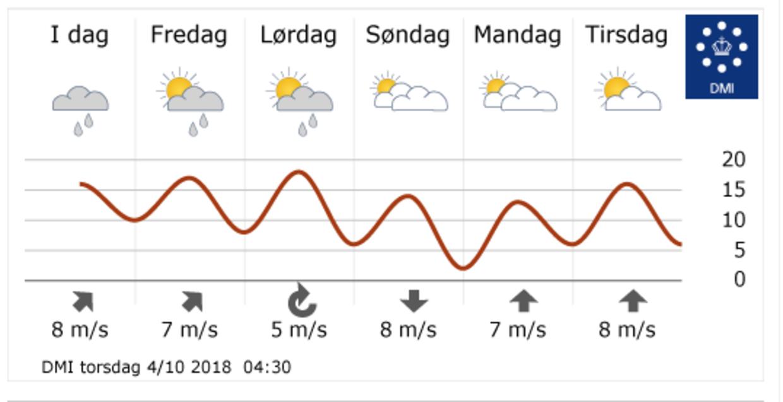 Femdøgnsprognosen fra DMI. Onsdag og torsdag i næste uge, hvor der forventes op til 20 grader, er ikke med.