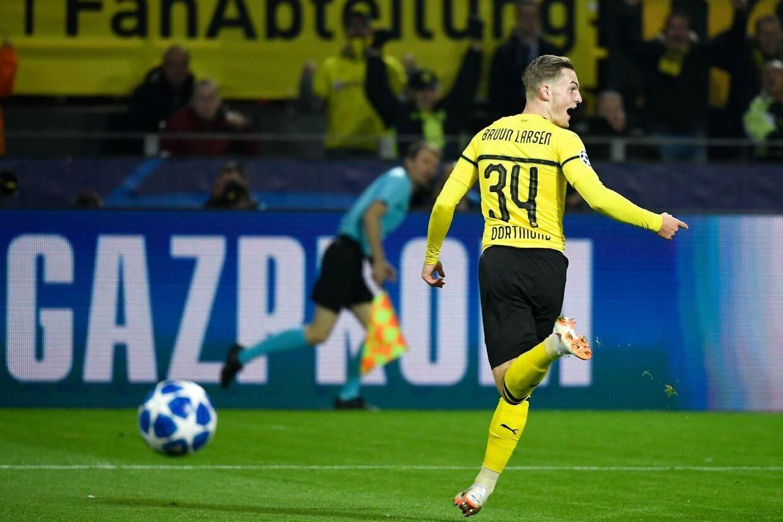 Jacob Bruun Larsen jubler over en scoring for Borussia Dortmund i Champions League-kampen mod AS Monaco 3. oktober.