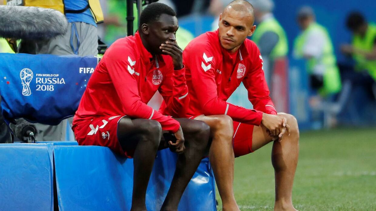 Pione Sisto (tv.) og Martin Braithwaite (th.).