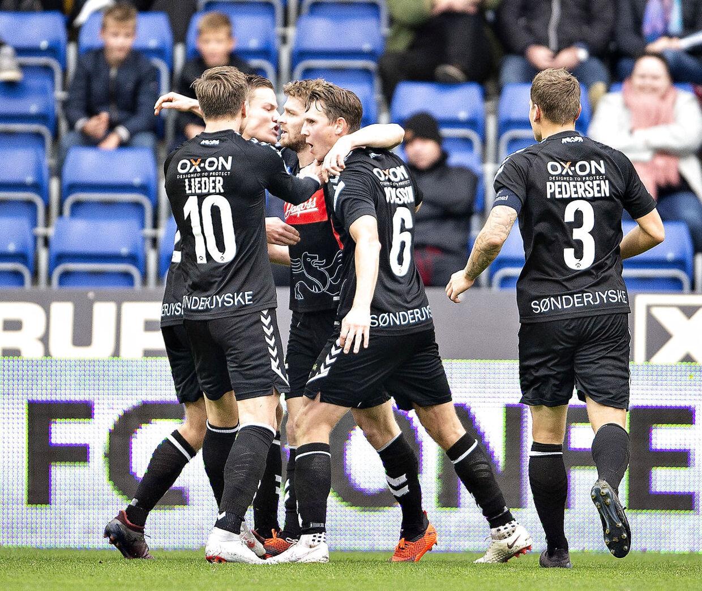 SønderjyskEs Johan Absolonsen har scoret og udlignet til 1-1 i Superliga-kampen mellem Randers FC og SønderjyskE på Bionutria Park i Randers, søndag 21. oktober 2018.. (Foto: Henning Bagger/Ritzau Scanpix)