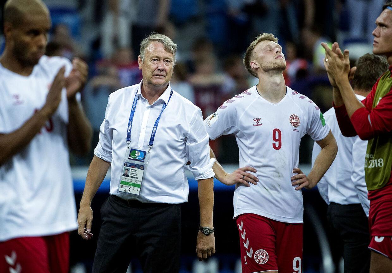 Landstræner Åge Hareide og Nicolai Jørgensen efter 1/8 finalen og straffespark mellem Danmark-Kroatien på Nizhny Novgorod Stadium den 1 juli 2018.