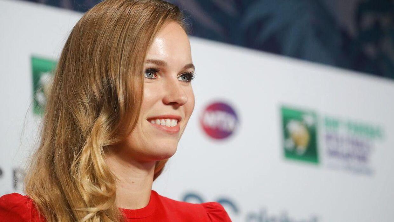 28-årige Caroline Wozniacki fotograferet før oktober måneds WTA Finals-turnering i Singapore.