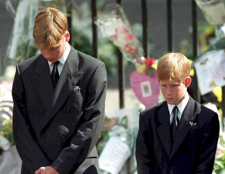 De to unge prinser ved deres mors begravelse.