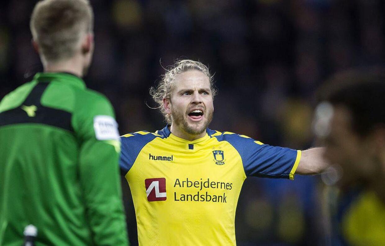 Brøndbys Kasper Fisker under Superliga-kampen mellem Brøndby og Hobro på Brøndby Stadion.