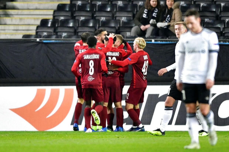 Salzburg fejrer en scoring mod et slukøret Rosenborg-mandskab.