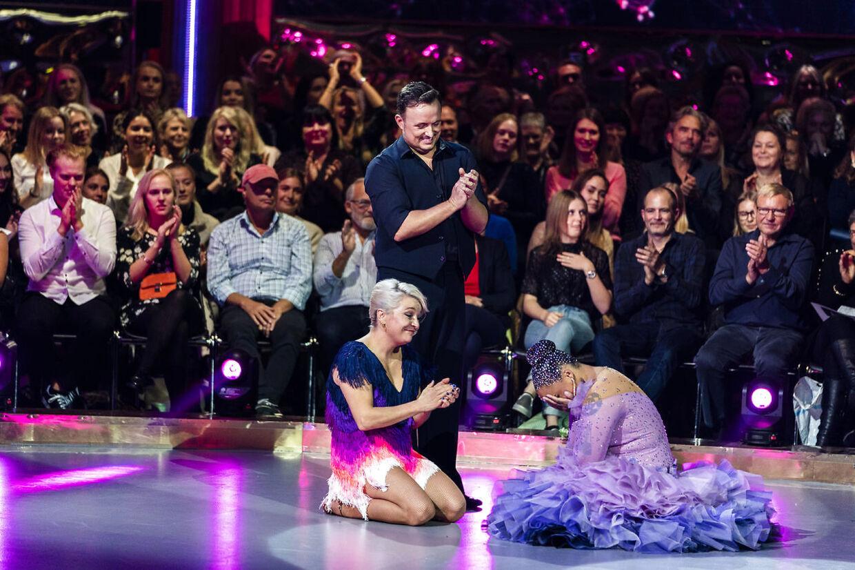 Signe Lindkvist og Thomas Evers Poulsen blev i sidste uge stemt ud af Vild med Dans og Lucy Love og Michael Olesen gik videre til denne uges show (foto: Martin Sylvest/Scanpix Ritzau Scanpix 2018)