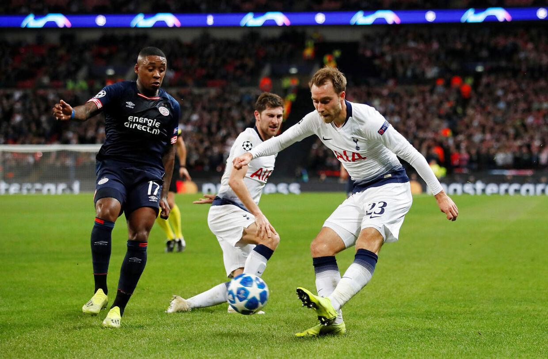 Christian Eriksen i aktion i Tottenhams Champions League-kamp mod PSV.