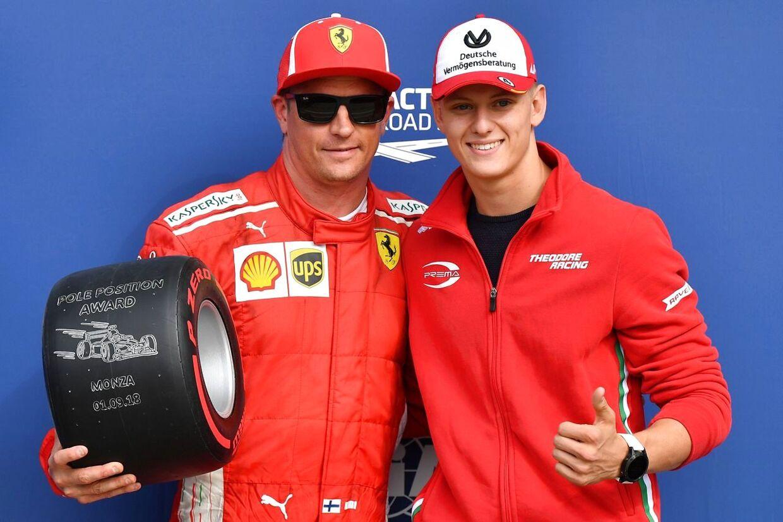 Mick Schumacher besøgte Ferrari og Kimi Raikkönen ved Formel 1 i år. (Photo by Andrej ISAKOVIC / AFP)