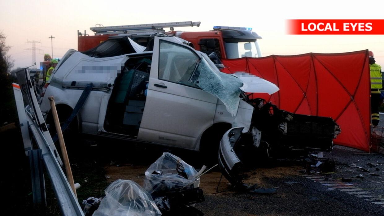 Varevognen, der var involveret i ulykken.
