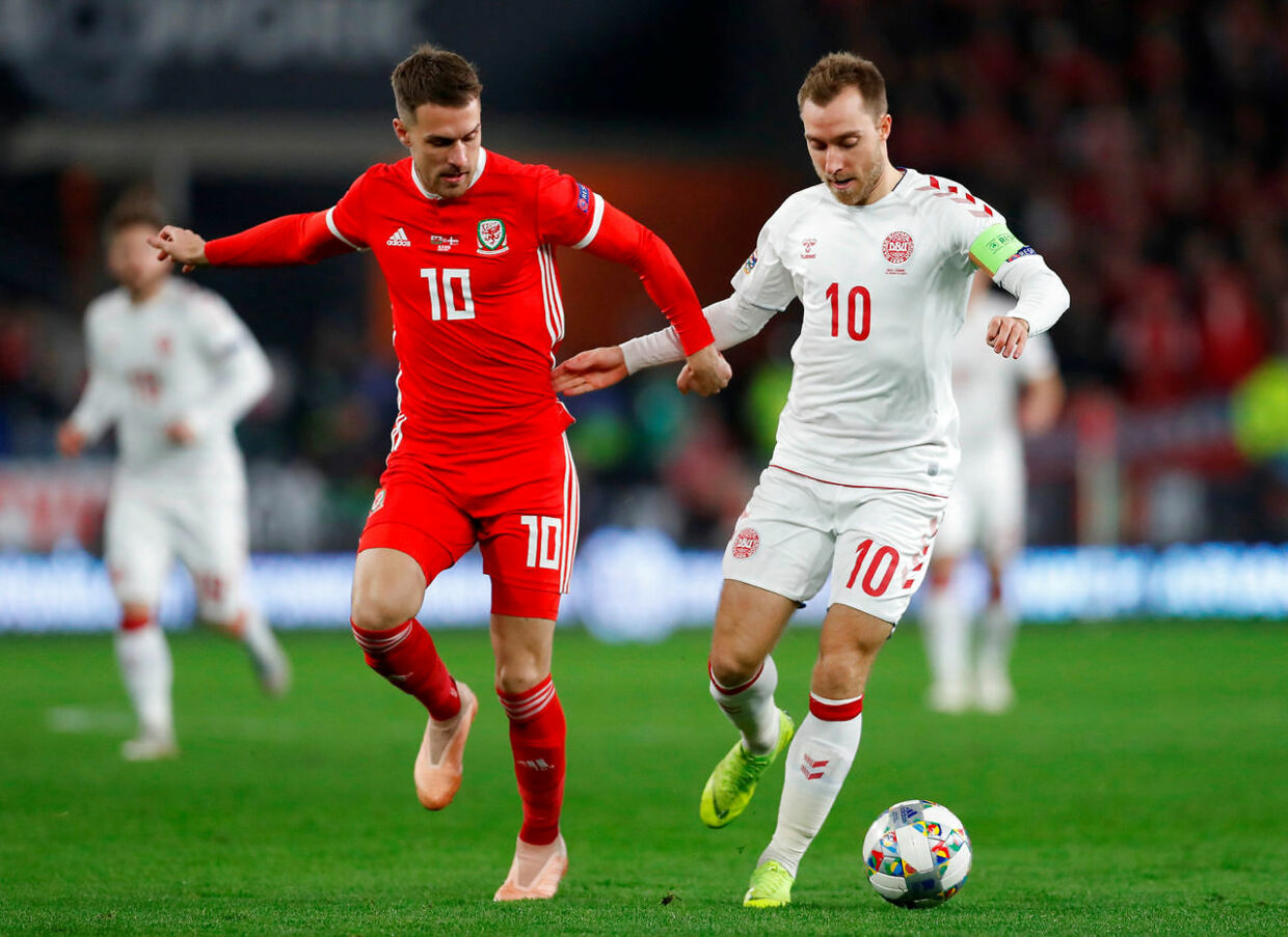 Soccer Football - UEFA Nations League - League B - Group 4 - Wales v Denmark - Cardiff City Stadium, Cardiff, Britain - November 16, 2018 Wales' Aaron Ramsey in action with Denmark's Christian Eriksen Action Images via Reuters/Matthew Childs