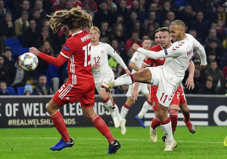 Soccer Football - UEFA Nations League - League B - Group 4 - Wales v Denmark - Cardiff City Stadium, Cardiff, Britain - November 16, 2018 Denmark's Martin Braithwaite scores their second goal REUTERS/Rebecca Naden