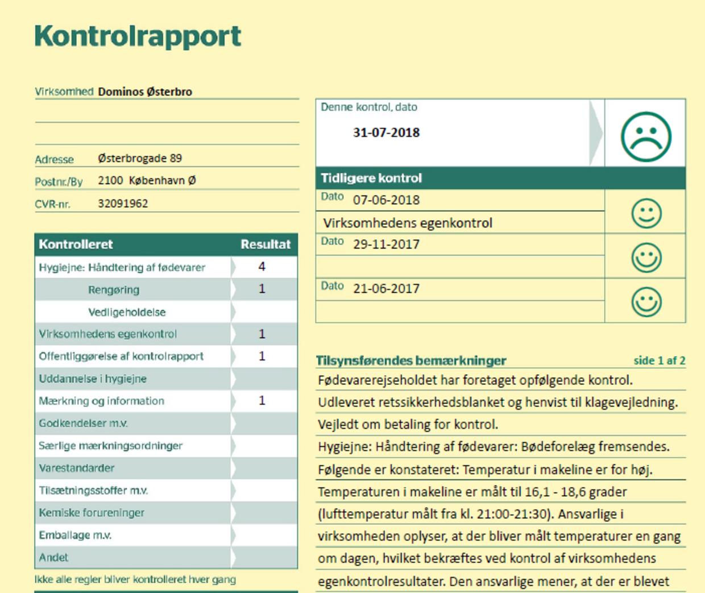 Et eksempel på en rapport, Domino's har slettet. I dag står kun én rapport opført hos Domino's Østerbro. Her er et nyt cvr-nummer anført, og der er en glad smiley dateret 6. september.