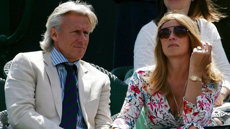 Björn Borg og konen Patricia på lægterne under Wimbledon.