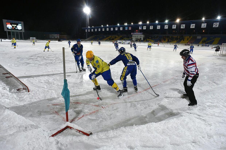 Bandy er en form for ishockey, der spilles på en forstørret bane - cirka på størrelse med en fodboldbane. Arkivfoto.