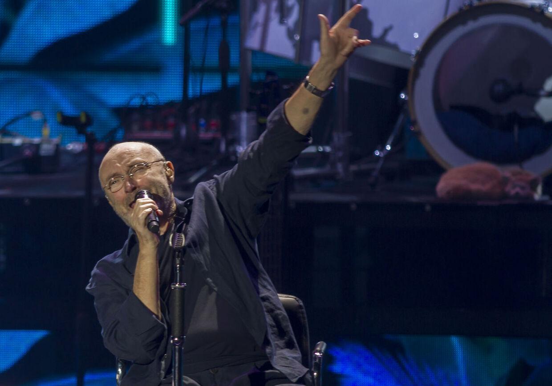 Den britiske sangstjerne Phil Collins ses her under sit show i Monterrey i Mexico 6. marts 2018.