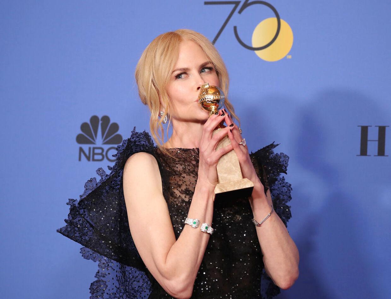 Nicole Kidman har høstet en række priser for sin rolle i serien Big little lies. Her en Golden Globe.