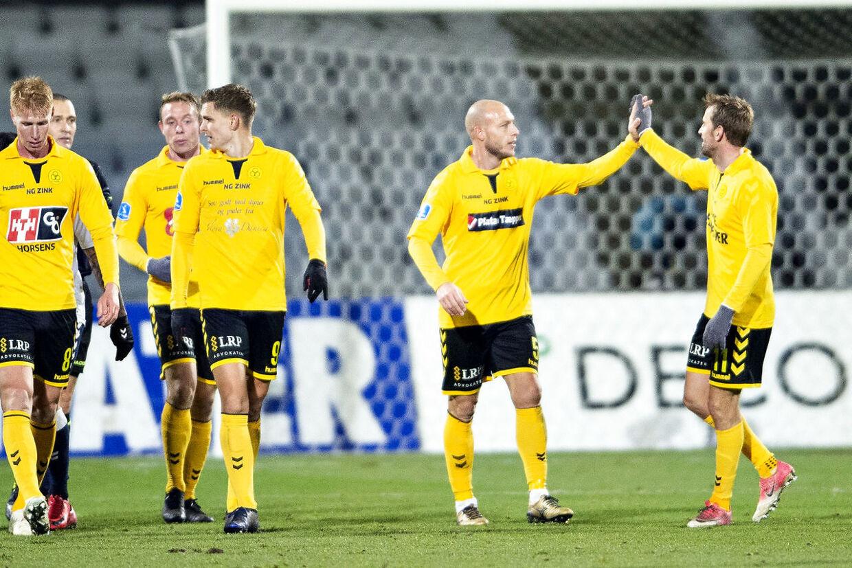 AC Horsens Michael Lumb har scoret til 2-0 i Superligakampen mellem AGF og AC Horsens på Ceres Park i Aarhus , mandag 26.november 2018.