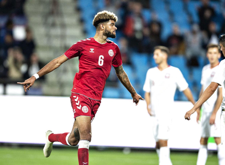 Danmarks Philip Billing har scoret til 1-0 i U21 EM-kvalifikationskampen mellem Danmark og Polen på Aalborg Stadion, fredag 12. oktober 2018.. (Foto: Henning Bagger/Ritzau Scanpix)