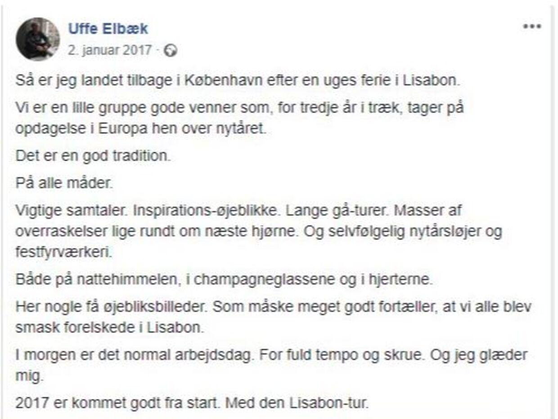 Uffe Elbæk beskriver sin tradition om at rejse på nytårsferie. Foto: Facebook.