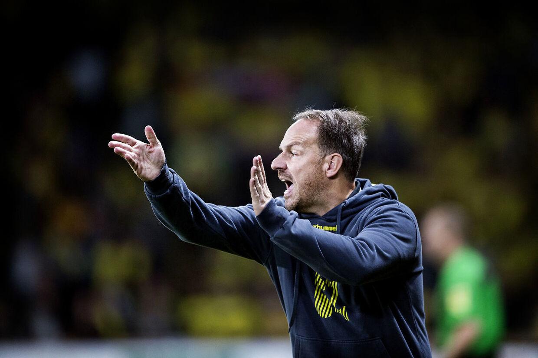 Brøndbys cheftræner Alexander Zorniger under superligakampen mellem Brøndby og FC Midtjylland på Brøndby Stadion den 2 september 2018.