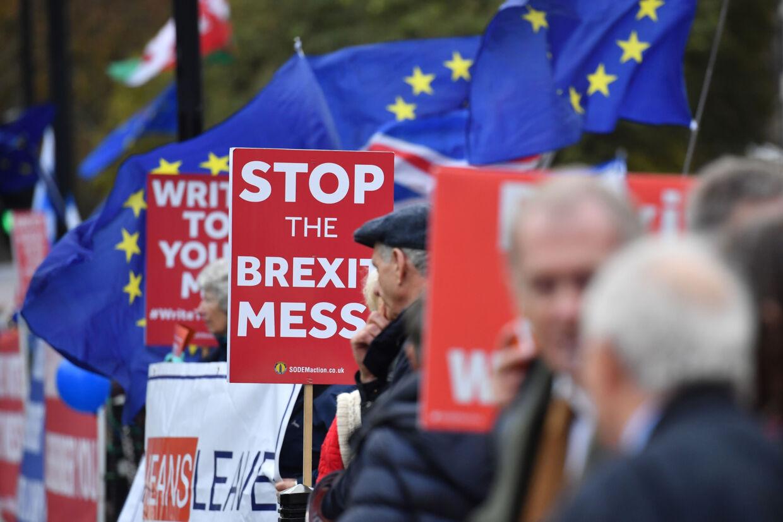 Demonstranter for og imod den britiske udtræden af EU var onsdag samlet foran parlamentet i London, hvor premierminister Theresa May endnu en gang skulle svare på spørgsmål efter et opsigtsvækkende politisk nederlag tirsdag aften. Ben Stansall/Ritzau Scanpix
