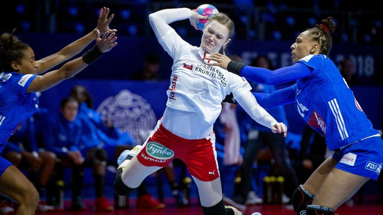 Danmarks Anne Mette Hansen under EM kampen mellem Frankrig-Danmark i Nantes, torsdag den 6 december 2018. (Foto: Liselotte Sabroe/Scanpix 2018)