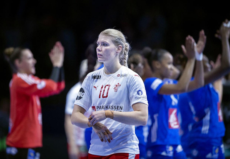 Danmarks Kathrine Heindahl efter EM kampen mellem Frankrig-Danmark i Nantes, torsdag den 6 december 2018. (Foto: Liselotte Sabroe/Scanpix 2018)