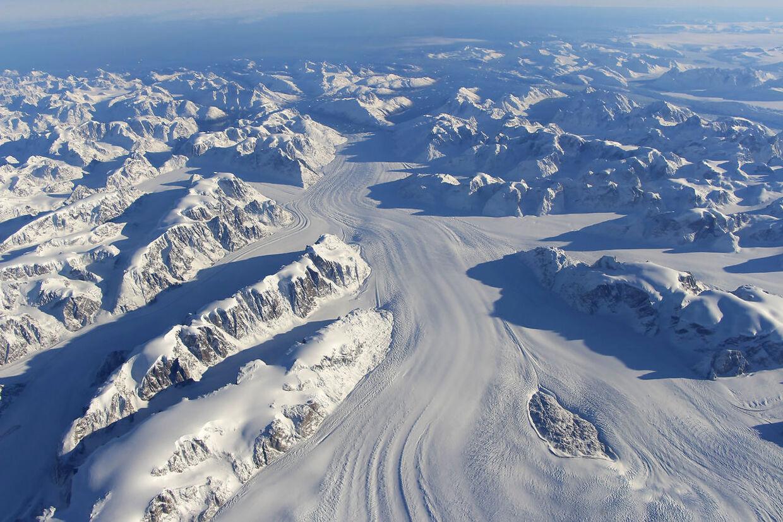 Heimdal-gletsjeren i Østgrønland er en af de mest producerende gletsjere i verden Foto: NASA