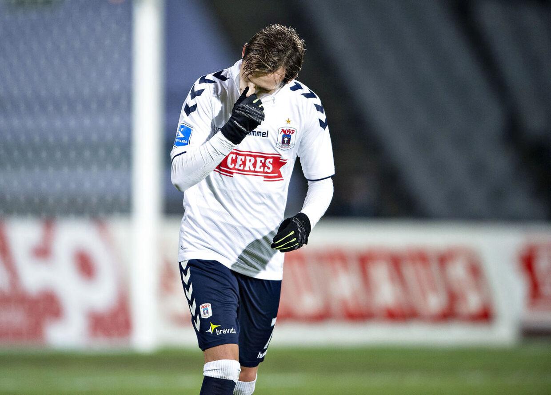 AGF's Jakob Ankersen ærgrer sig i Superligakampen mellem AGF og AC Horsens på Ceres Park i Aarhus , mandag 26.november 2018.