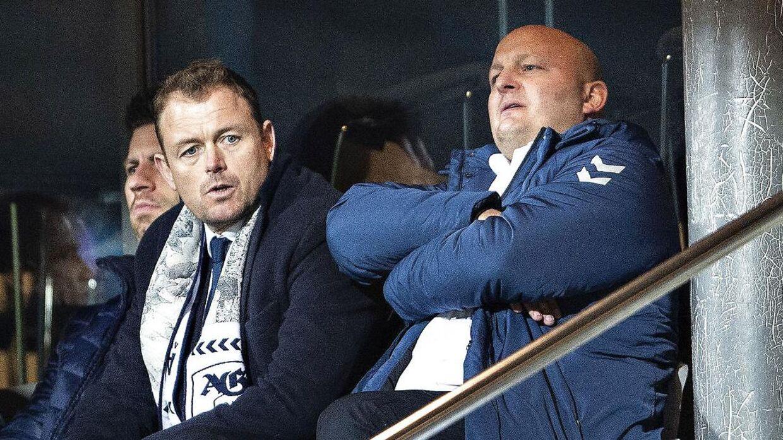 AGF-direktør Jacob Nielsen og sportschef Peter Christiansen.