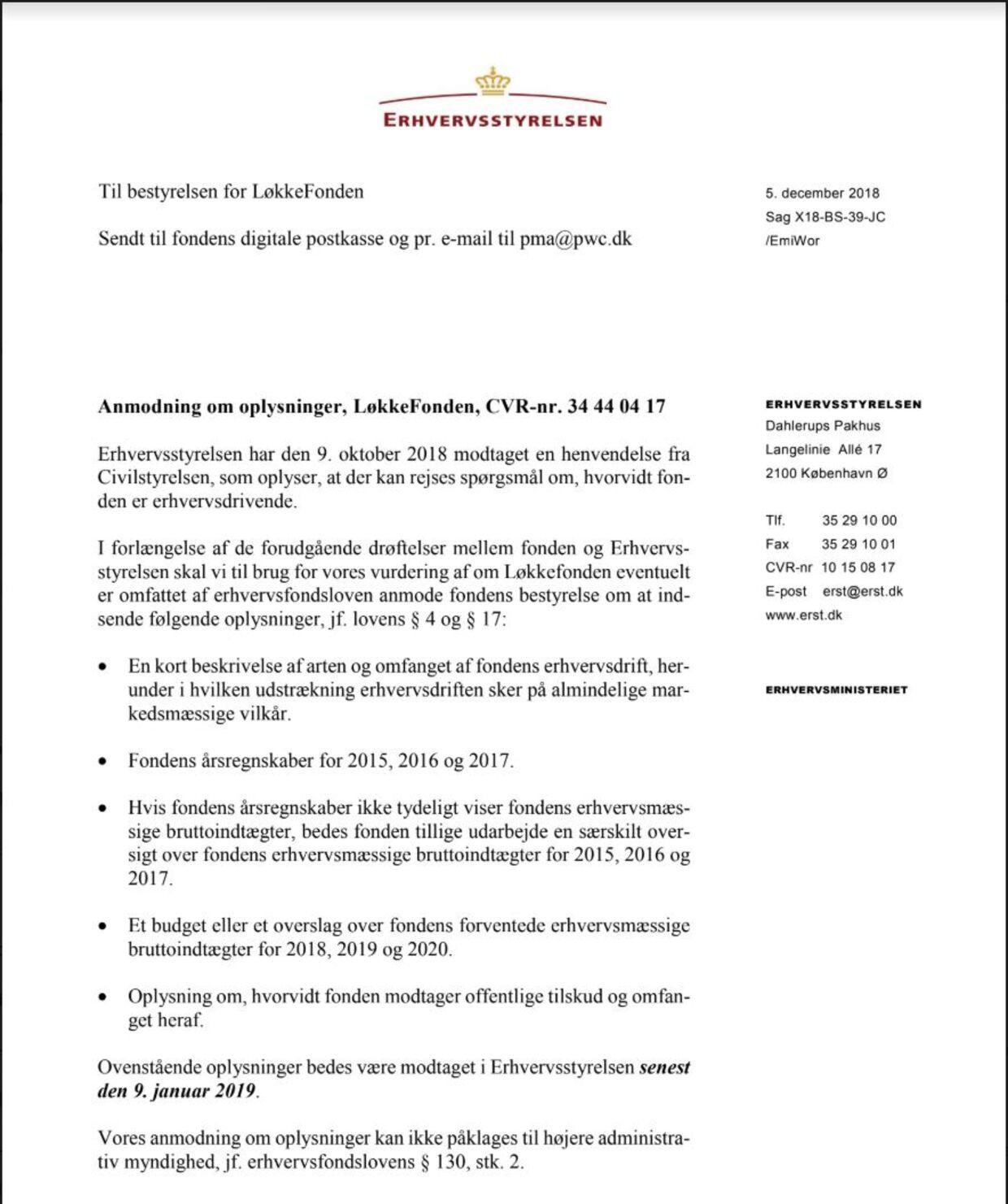 Erhvervsstyrelsens brev til Løkkefonden, 5. december.