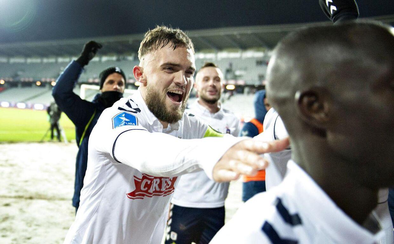 AGF's matchvinder Pierre Kanstrup jubler over sin scoring mod Hobro IK.