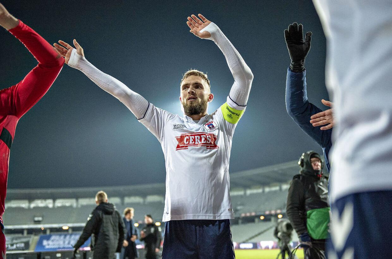 AGF's matchvinder Pierre Kanstrup jubler over sejren i Superliga-kampen mellem AGF og Hobro IK på Ceres Park i Aarhus.