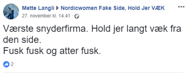 En hel side på Facebook er dedikeret til at advare mod nordicwoman.dk.