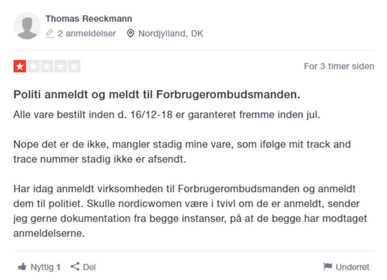 Rasende kunder revser Nordicwoman på Trustpilot.