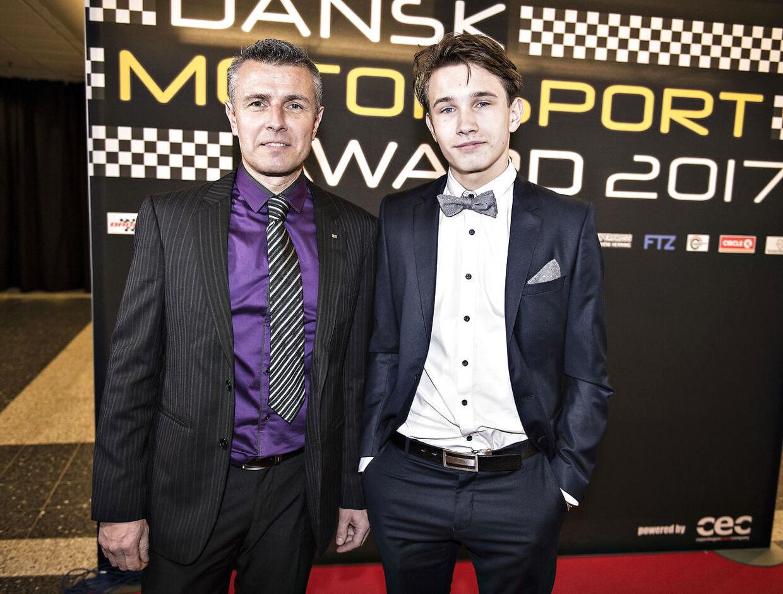Christian Lundgaard her i selskab med sin far, Henrik Lundgaard, ved Dansk Motorsport Award 2017.