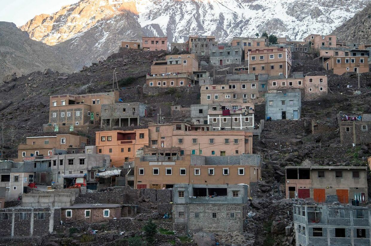 A picture taken on December 18, 2018 shows the tourist village of Imlil in the High Atlas range. - Moroccan authorities arrested a suspect over the murder of two Scandinavian women in the High Atlas mountains, a popular trekking destination for tourists. The bodies were discovered in an isolated mountainous area 10 kilometres (six miles) from the tourist village of Imlil in the High Atlas range, near the Chamharouche shrine. (Photo by FADEL SENNA / AFP)