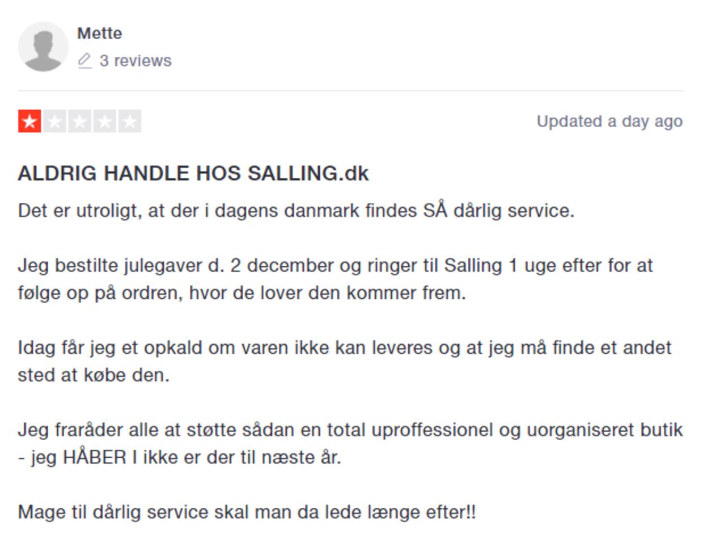Mette advarer imod at bruge Salling.