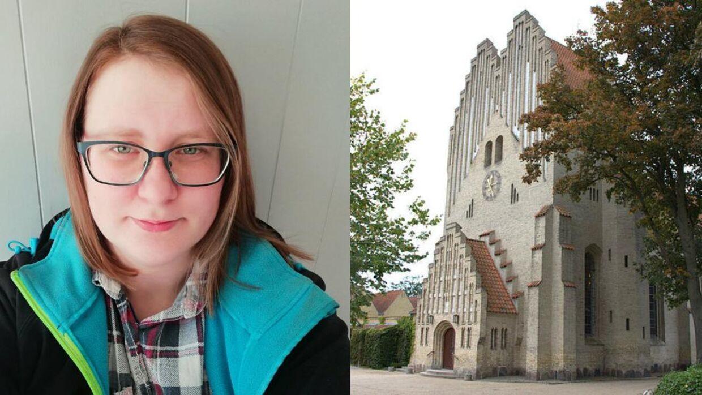 Lena Poulsen havde en uheldig oplevelse i Fredens kirke i Odense.