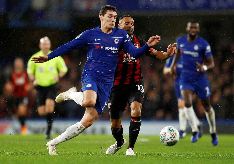 Andreas Christensen fik en sjælden optræden for Chelsea i denne uge i pokalturneringen. (REUTERS/Peter Nicholls)