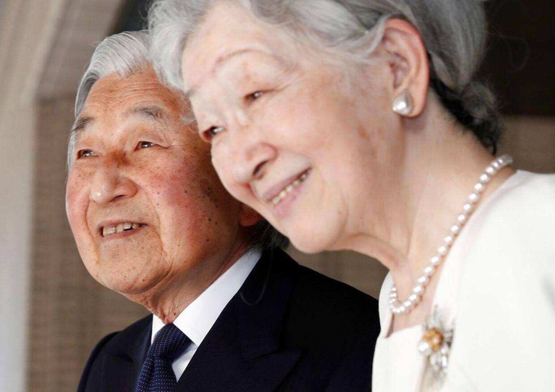 85-årige kejser Akihito med kejserinde Michiko. Her er de fotograferet i Tokyo 6. november 2017 i forbindelse med et besøg fra USAs præsident, Donald Trump.