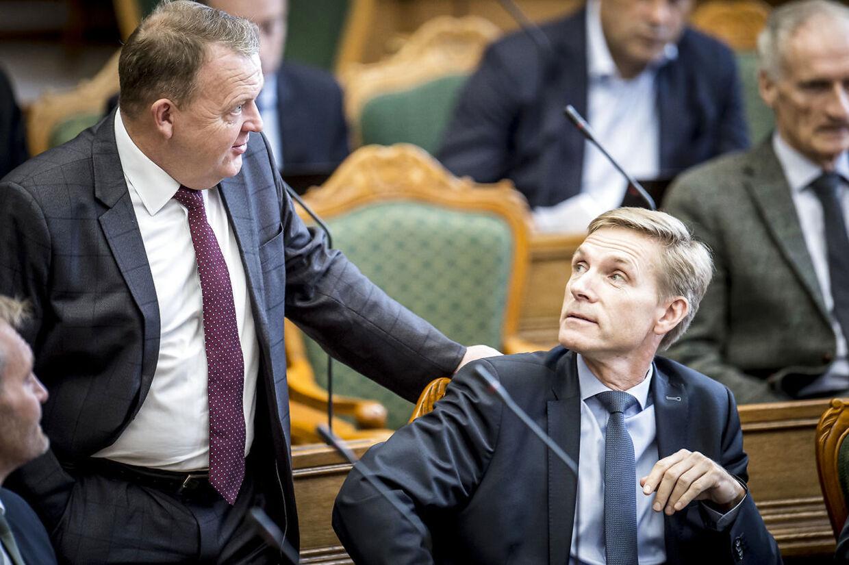 Statsminister Lars Løkke Rasmussen (V) og Kristian Thulesen Dahl (DF) under åbningsdebatten i Folketinget på Christiansborg i København, torsdag den 4. oktober 2018.