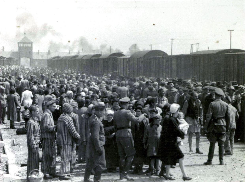 Nazisterne fragtede millioner af mennesker i døden med toge. Dette billede er taget i 1944 foran Auschwitz-Birkenau.