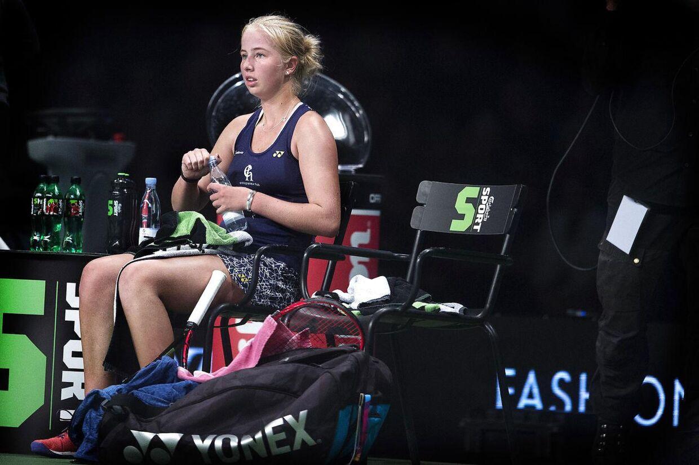 Clara Tauson i en pause under en kamp i 2018.