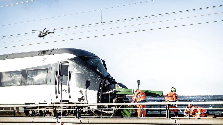 Togulykke på Storebæltsbroen onsdag den 2. januar 2019. Otte omkom, da dele fra et godstog ramte et passagertog på Storebæltsbroen. (Foto: Tim K. Jensen/Ritzau Scanpix)