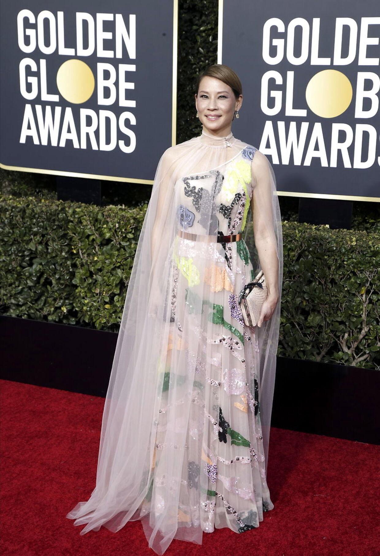 Lucy Liu var en af dem, som blev hårdere dømt på sit outfit i udenlandske medier. Blandt andet mediet 'Daily mail' hende, som en af de værste klædte. EPA/MIKE NELSON
