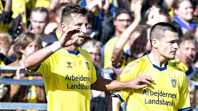 Brøndbys Kamil Wilczek og Ante Erceg.